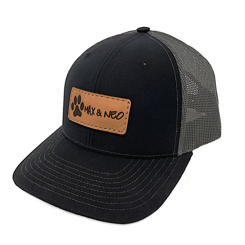 Max and Neo Leather Patch Trucker Baseball Cap