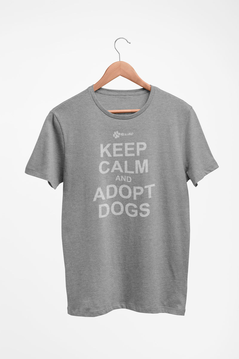 Men's/Unisex Keep Calm and Adopt Faded White Print Triblend T-Shirt