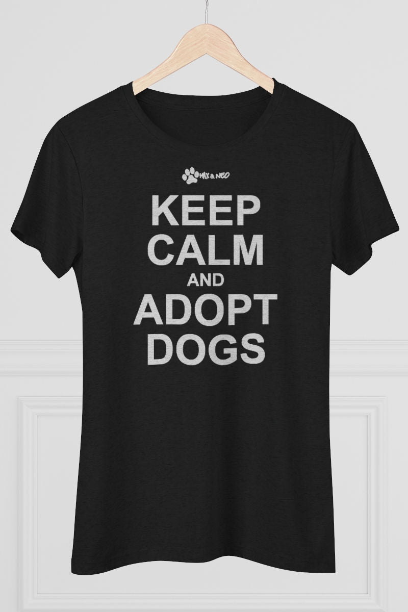 Women's Fitted Keep Calm and Adopt Faded White Print Triblend T-Shirt