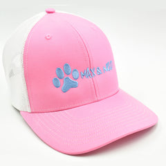Max and Neo Pink on White Trucker Baseball Cap