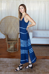 Maxi Slip Dress - Blue Shibori