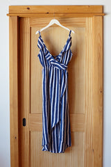 Ruffle Dress - Blue Handblock Stripe