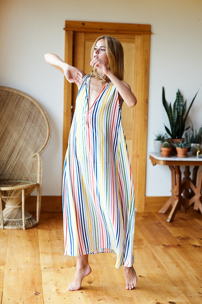 Sleeveless Caftan - Rainbow Stripe