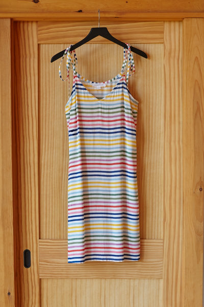 V Neck Tie Dress - Rainbow Stripe