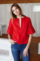 Mod Ruffle Top - Red - Imperfect