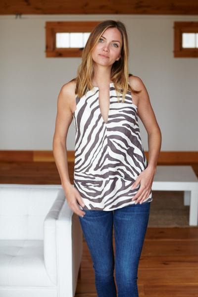 A Line Mod Top - Pewter Zebra - Imperfect