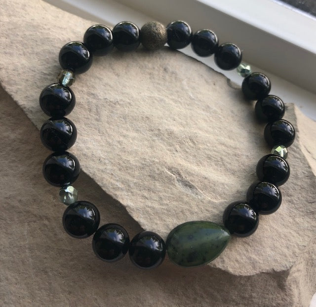 NEW! Jade and Black Onyx-Bracelet