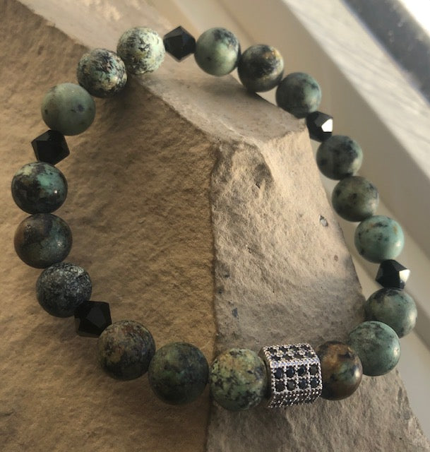 SALE! African Turquoise & Sterling Silver Bangle Set- Bracelets