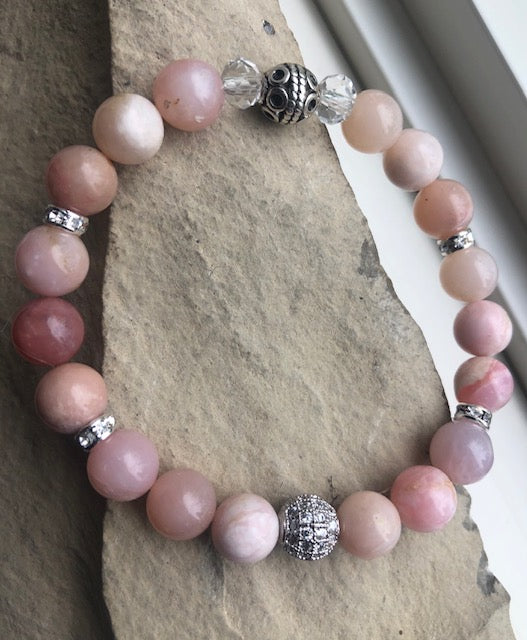 Blush Pink Opal & Moonstone-Bracelet Duo