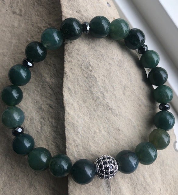 Moss Green agate and Black Onyx-Bracelet Set