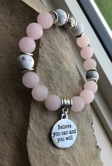 Believe-Rose Quartz Duo-Stacking Bracelet Set