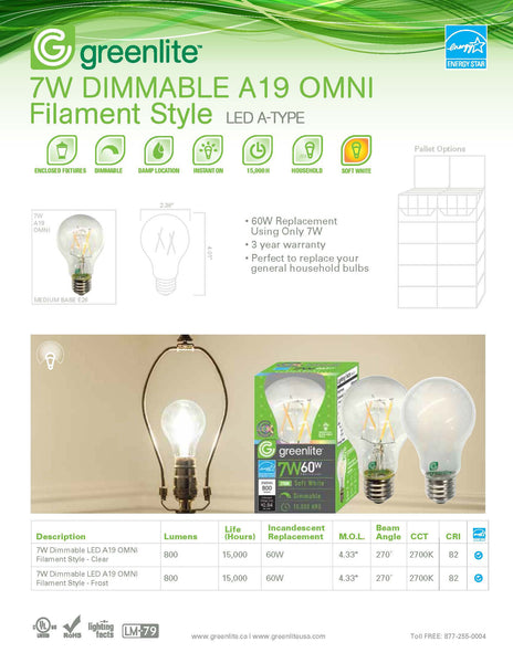 Greenlite 7W LED A19 Filament Clear E26 Bulb