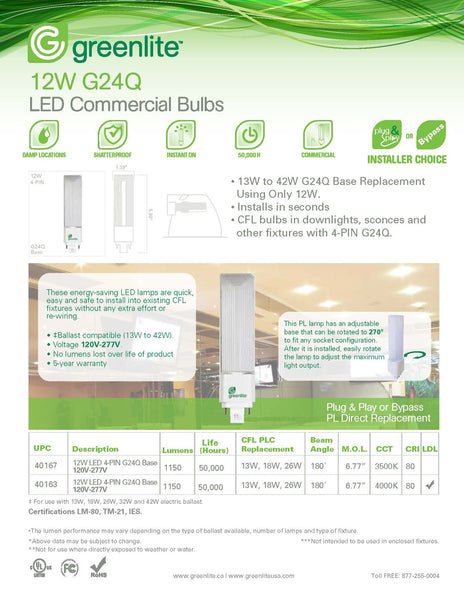 Greenlite 12 watt PL 4 Pin LED Light Bulb