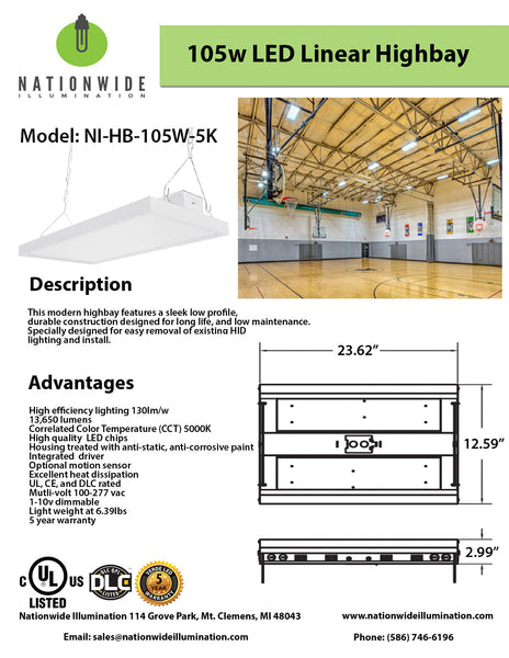 Nationwide Illumination 105W LED Linear High Bay