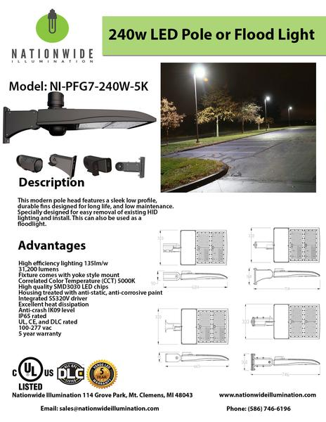 Nationwide Illumination 240W LED Pole Flood Light
