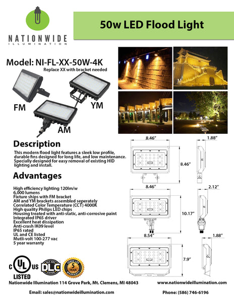 Nationwide Illumination 50W LED Flood Light