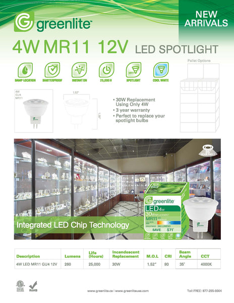 Greenlite 4W Dimmable MR11 Base Bulb