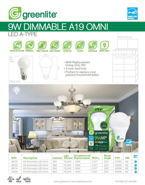 Greenlite 9W 3000k LED Bulb A19 Non-Dimmable
