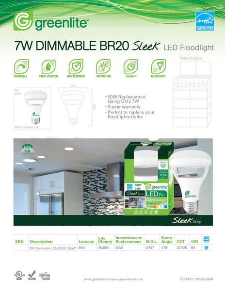 Greenlite 7 watt BR20 Sleek LED Dimmable Light Bulb