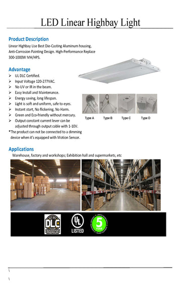 220W LED Linear High Bay
