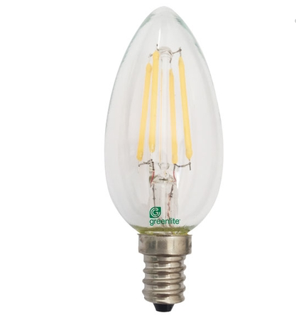 Greenlite 4W Dimmable Candle Filament Torpedo Bulb Clear E 12 Base