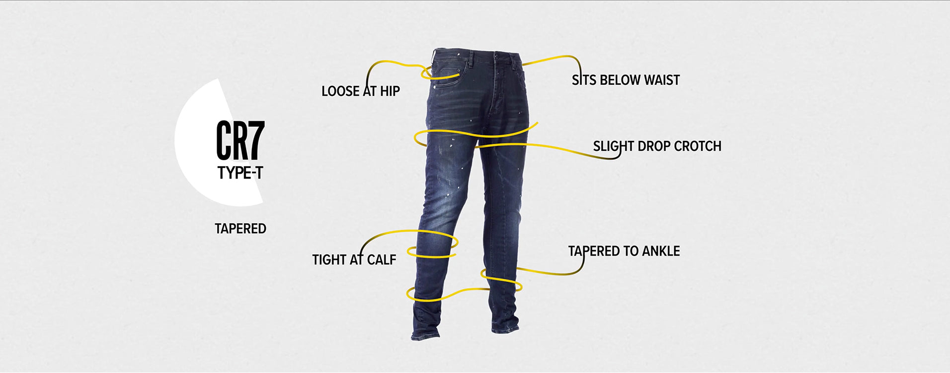 TYPE-T TAPERED JEAN - GUNMETAL fit
