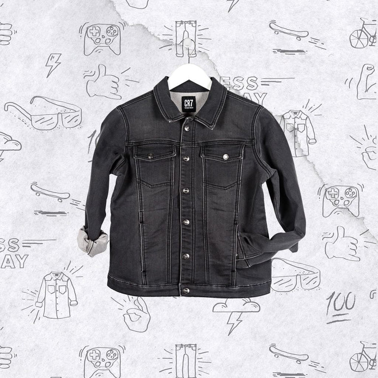 CR7 Junior Trucker Jacket - Charcoal - front view
