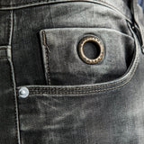 CR7 Denim Type-C Slim Straight - Stone Grey - front pocket closeup