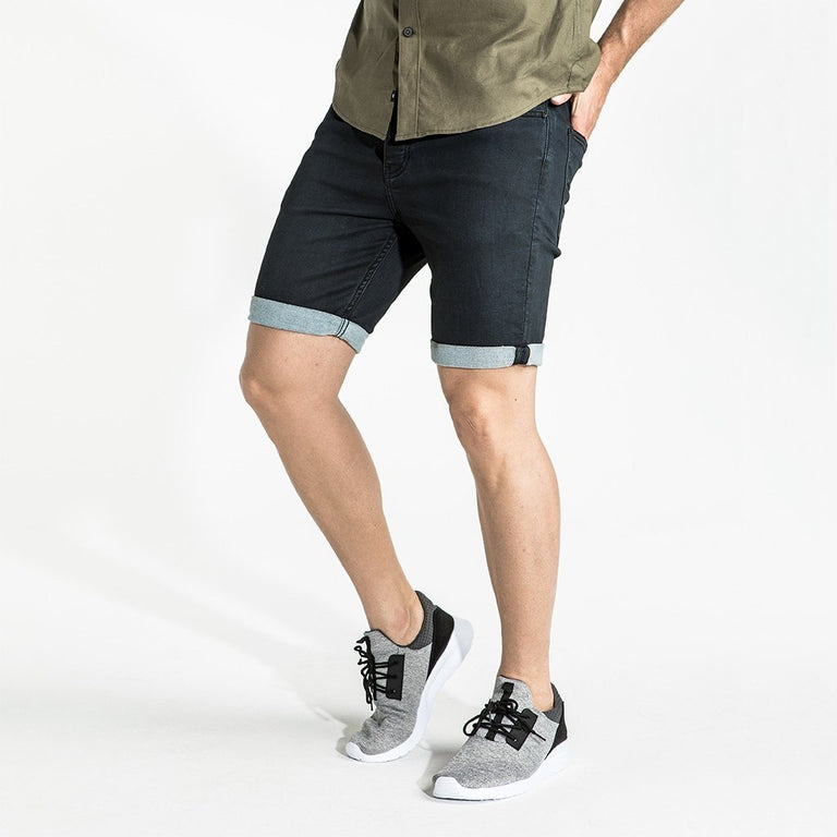 CR7 Denim Waxed Jet Coated Short - side view