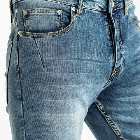CR7 Denim Blue Eyes Wash Back Short - leg closeup