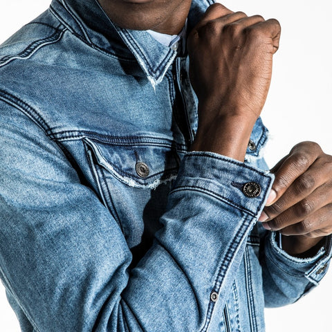 CR7 Denim Trucker Jean Jacket - Blue Eyes - cuff closeup