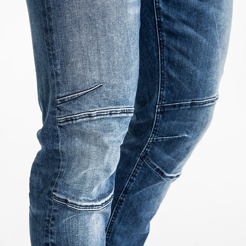 CR7 Denim Type-S Super Skinny - Oasis Blue - knee details