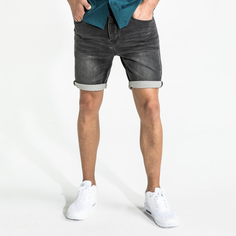 CR7 Denim Charcoal Kick Back Short - front view