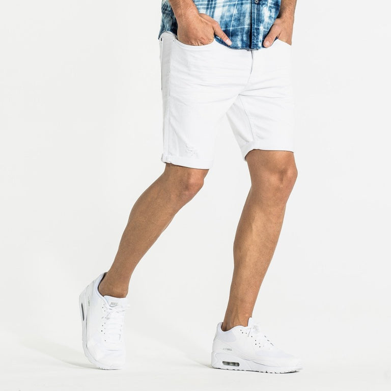 CR7 Denim White Rip Back Short - front view