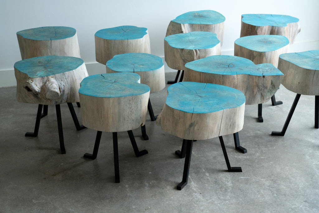 Fleet of Hackberry Sputnik Tables with Blue Oil