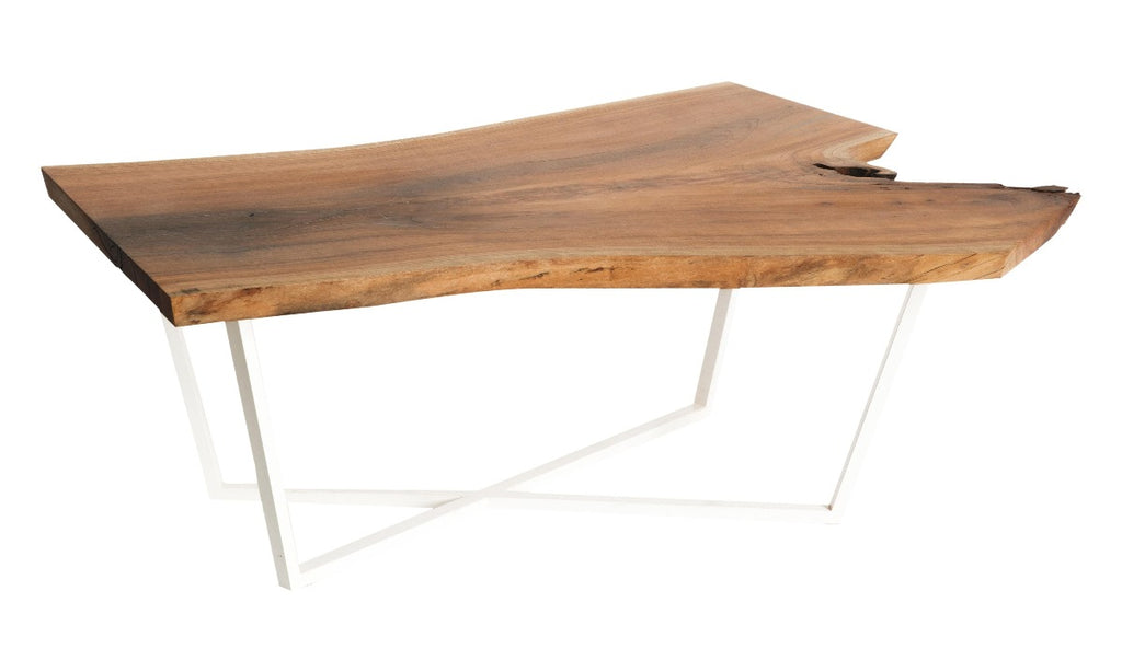 Cherry Slab Coffee Table with white intersection base