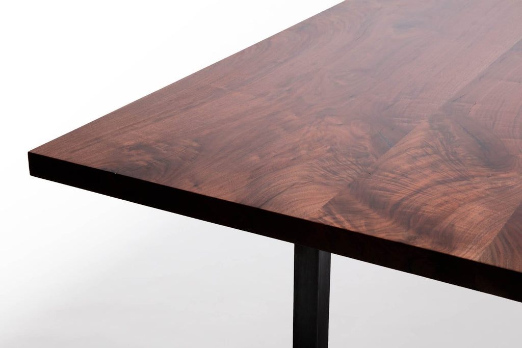 Modern Dining Table Walnut Sunrise Base Grain
