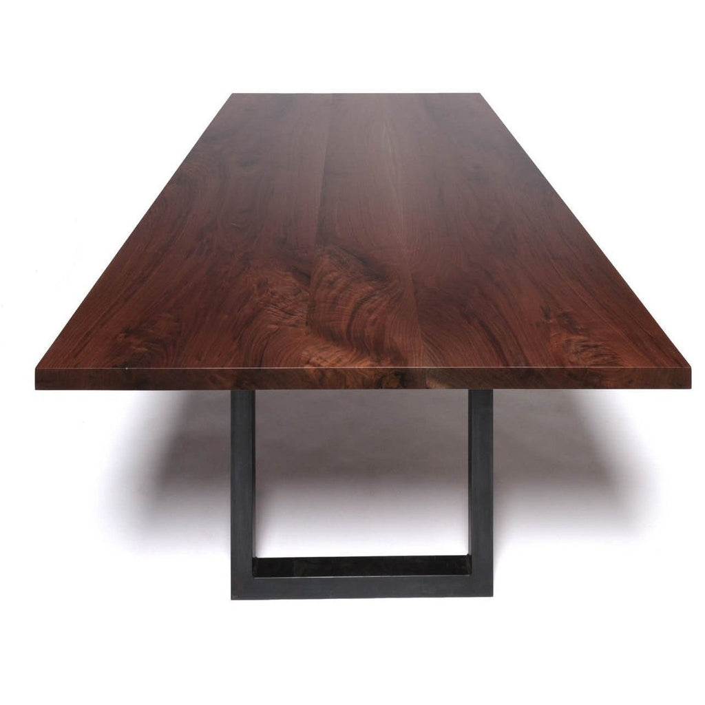 Modern Dining Table Walnut Sunrise Base