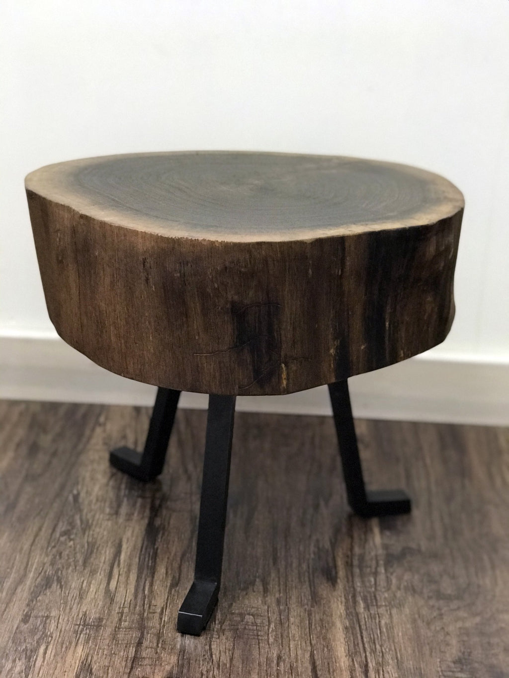 Live Edge Round Side Table Walnut Top
