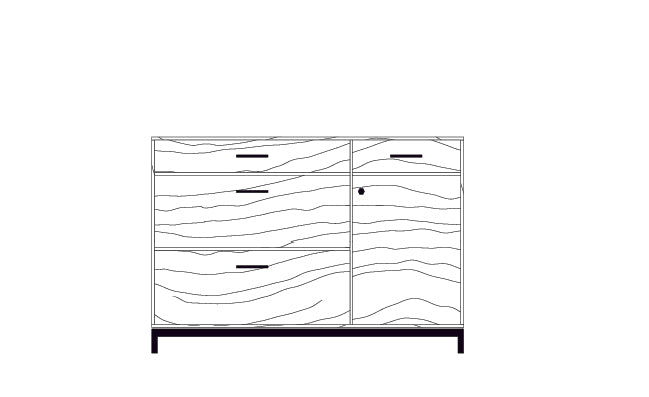 Drawing of 52 inch Lanett Credenza