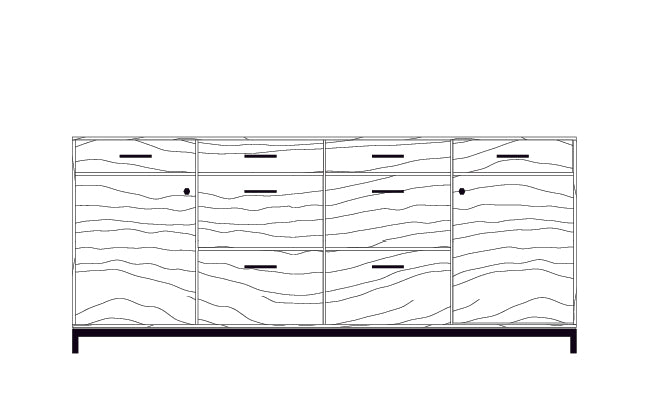 Drawing of 84 Inch Lanett Credenza