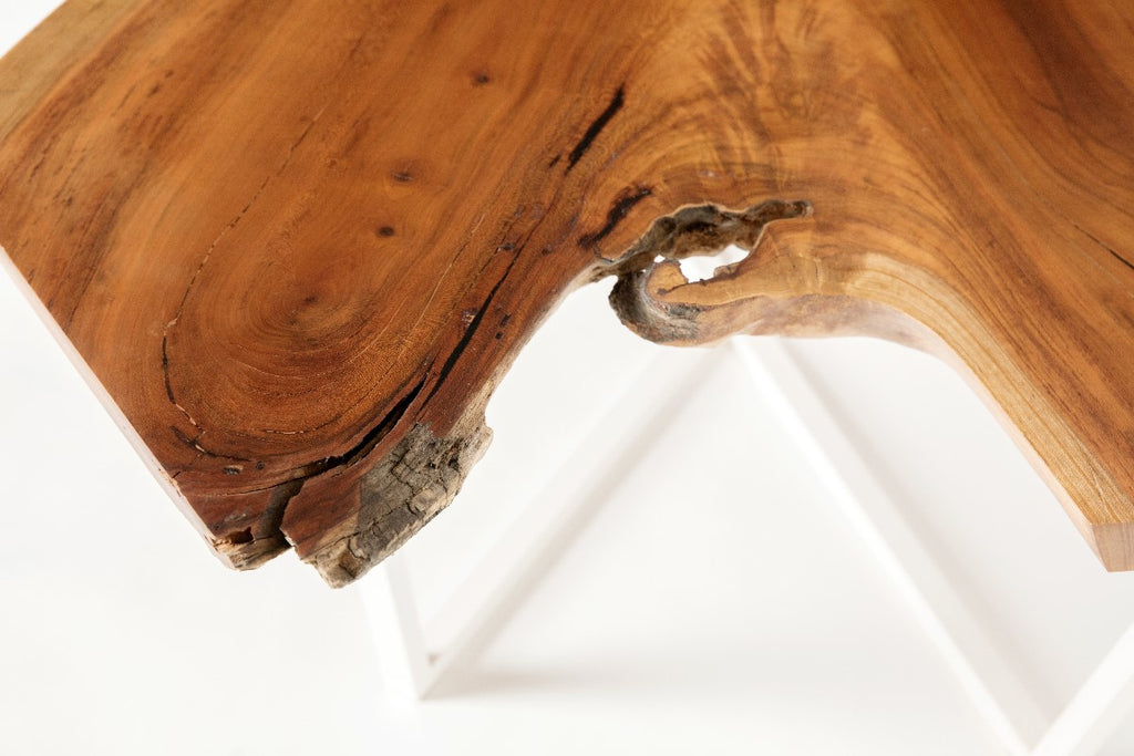 Cherry Slab Coffee Table with white intersection base detail view of crotch