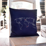 Personalised world map cushion cover