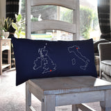 Personalised map cushion - two country
