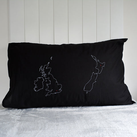 Personalised map pillowcase - two country