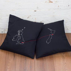Two personalised map cushion covers