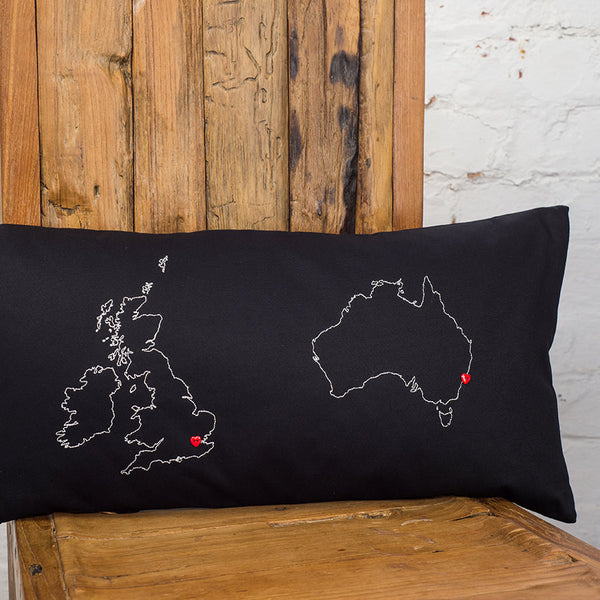 Personalised map cushion cover - two country
