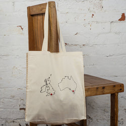 Two country personalised map tote bag
