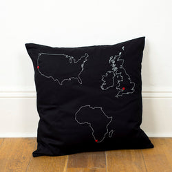 3 country custom map cushion cover