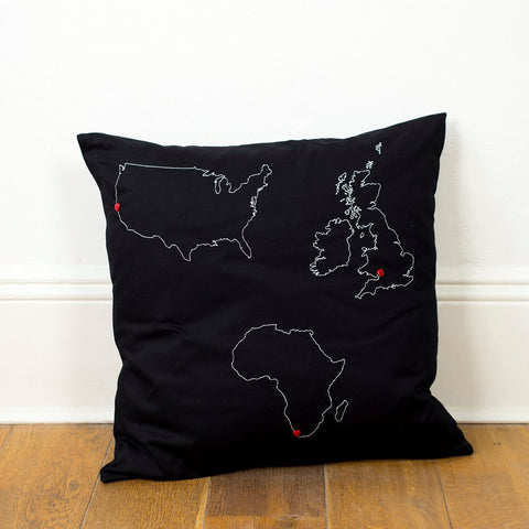 Personalised map cushion cover - three country